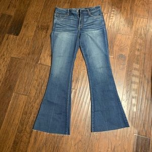 Bell Bottom jeans with raw hem